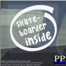 1 x Skateboarder Inside-Window,Car,Van,Sticker,Sign,Vehicle,Adhesive,Sport,Hobby